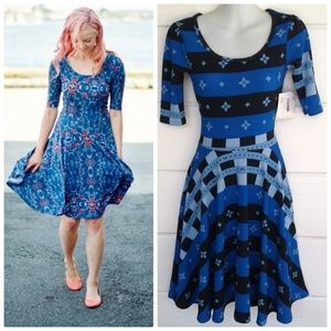 LuLaRoe Nicole A-Line Dress Blue Black Striped XXS